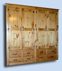 Handcrafted Northern White Pine Built-in Bed Room Closet Cabinet