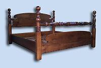 Custom Handcrafted Northern White Pine Cannon Ball Bed with Blanket Rail