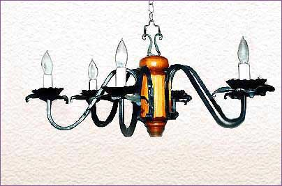 Six Lamp Wrought Iron Chandeliers