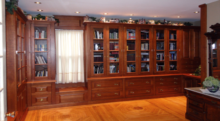 Handcrafted Built-in Cherry Custom Library Bookcases
