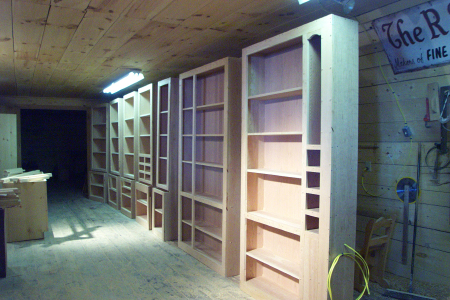 Handcrafted Custom Built-in Cherry Library Book Cases