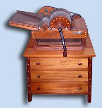 Custom Handcrafted Mahogany Carting Machine & 3 Drawer Cabinet
