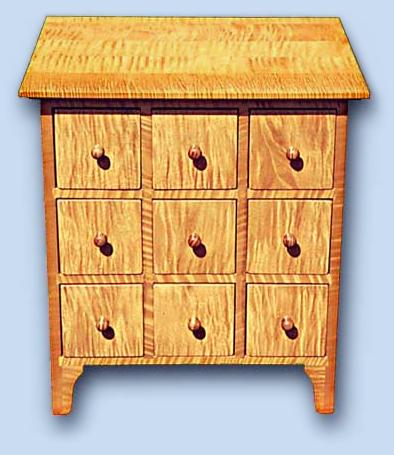 Tiger Maple Shaker Apothecary Chest
