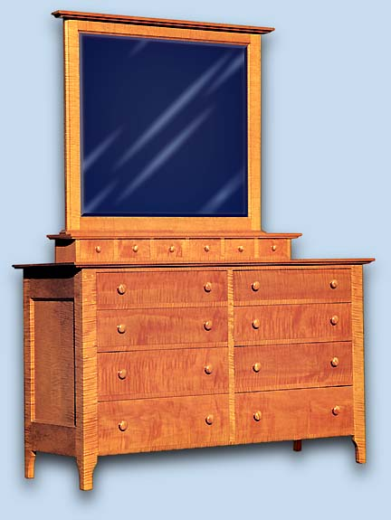 Curly Maple Shaker Lowboy Chest of Drawers