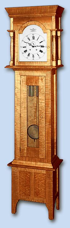 Tiger Maple & Birdseye Maple Shaker Grandfather Clock (Tall Case Clock)