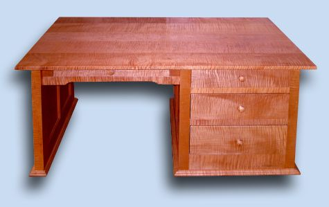 Tiger Maple Shaker Desk with Hidden Compartment