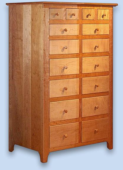 Cherry & Curly Maple Shaker 16 Drawer Dresser