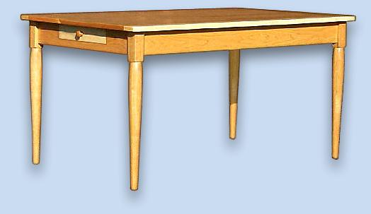 Cherry & Birdseye Maple Shaker Table - w/ End Drawers