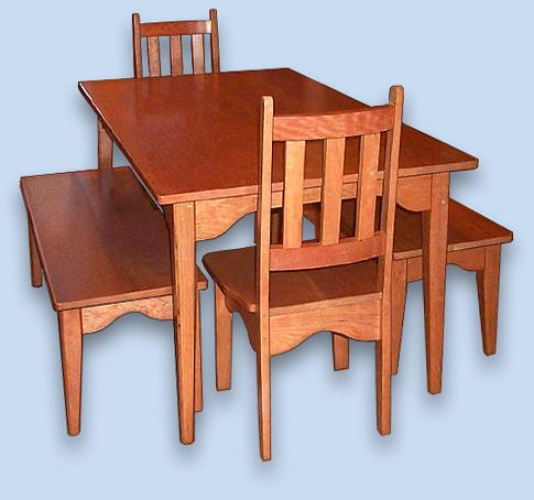 Cherry Shaker Benches, Chairs and Table