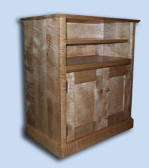 Handmade Custom Tiger Maple Shaker TV Cabinet